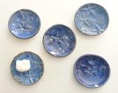 tide pool home decor Soap Dish: rustic blue Ring Bowl shell starfish nautical ocean designer handmade by potter