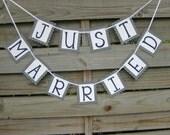 Just Married banner in Navy Blue and Grey - wedding decoration and photo prop