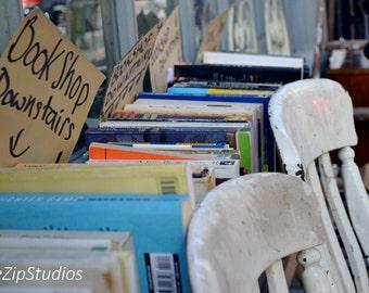 East London bookshop photograph. London photography, urban, art print, East London art, chairs