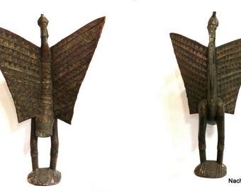 Antique Senufo Porpianong | African Hornbill Statue | Vintage Fertility Sculpture