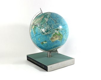 1960s Rand McNally New World Portrait Globe, Complete with Atlas, Record, Map & Booklet