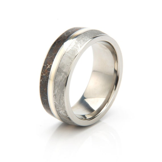 dinosaur bone wedding ring meteorite ring dinosaur bone wedding band with a 14k yellow 3550