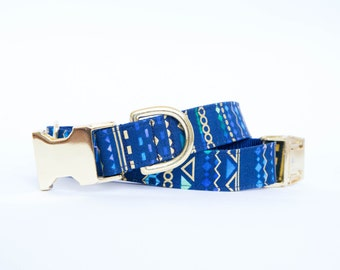 Royal Aztec Metallic Dog Collar