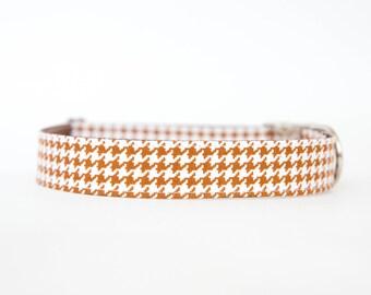 Dog Collar - Saddle Brown Houndstooth