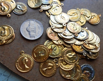 68 queen elizabeth coin charms - vintage old new stock jewelry supplies