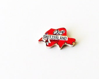 1960s Schweiz - Switzerland Brooch - Pin / Unique Wearable History Gift Idea / Upcycled Vintage Hand Cut Wood Jewelry / Great Gift Under 50