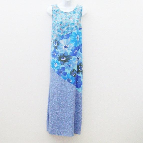 Vintage Blue Floral Dress / Soft Lilac Blue Flowers Cornflower Blue Dots Dress / Sleeveless Maxi Dress / 80s Summer Fashion / Carol Anderson