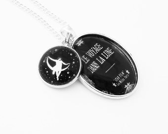 Moon and Stars Georges Melies Necklace A Trip To The Moon Silver Pendant Black and White French Le Voyage Dans Le Lune