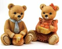 Figurines holding apple basket honey pot 1980s homco home interiors