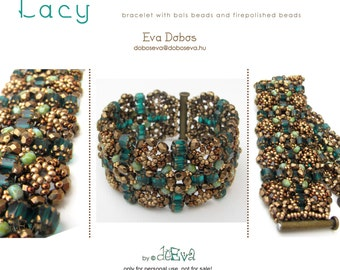 bead pattern / tutorial / instruction - K 56 - Lacy - bracelet with bols/baroque and firepolished beads - Pdf instruction