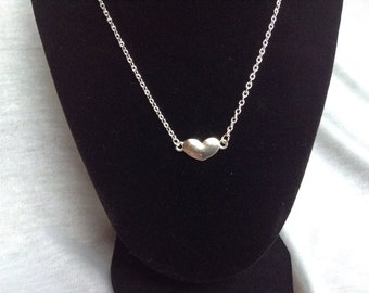 Silver Heart Charm Necklace, Heart Necklace