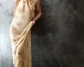 SALE 64.00 Vintage Dress Romantic Hippie Bohemian Layering Beaded Crochet Maxi Dress