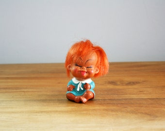 vintage 50s Happy Naughty Ginger Girl Dolly Rubber Korean Doll