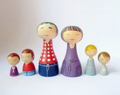 Custom Peg Family of 6 Portrait Grandparents and Grandchildren art dolls Personalized FREE SHIPPING Wooden special gift