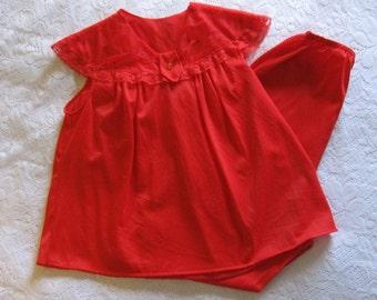 Vintage Red Pajamas, Little Miss Rogers Pajamas, Size Extra Small, Girls Pajamas, Red Pajama Set, Red Nylon Pajamas
