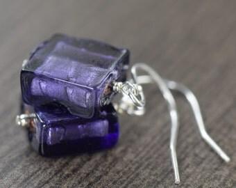 Purple Murano glass earrings purple Venetian glass earrings