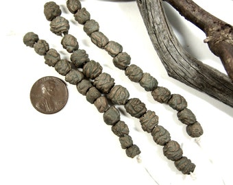 A Strand of Twelve Handmade Ceramic Stoneware Blob Beads, Great Jewelry Components, Each Hand Finished with Drab Green Terra Sigillata Hues