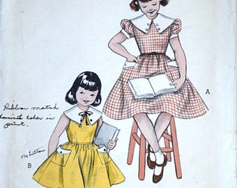 Vintage 50's Butterick 6827 Sewing Pattern, Girls' Dress With Contrast Collar, Size 6, 24 Breast
