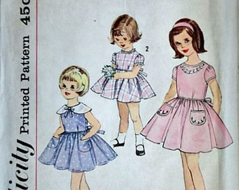 Vintage 60's Simplicity 4325 Sewing Pattern, Child's One-Piece Dress, Size 3, 22 Breast