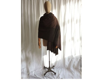 recycled cashmere wrap in brown