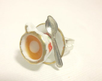 Red Flower Ring, Miniature Food Jewelry, Polymer Clay Food Jewelry
