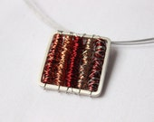 Necklace Tangle square Red are made Sterling silver and copper.