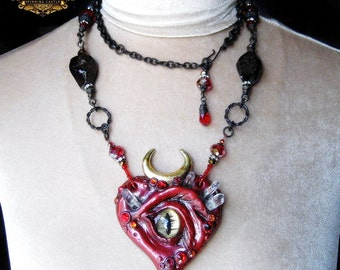 Evil Eye Protection Spell Amulet Talisman Pagan Altar Art Red Garnet Quartz Crystal Dark Art Occult Magick SACRED HEART by Spinning Castle