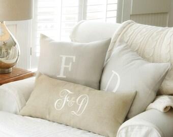 Monogram Pillow Cover, Wedding Gift, Couple's Pillow, Monogram Throw Pillow,Linen Pillow, Personalized Anniversary Gift, Decor by OhKoey