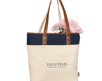 Custom Logo plus 1 Heritage Tote Bag - personalized totes - monogrammed - embroidered - canvas