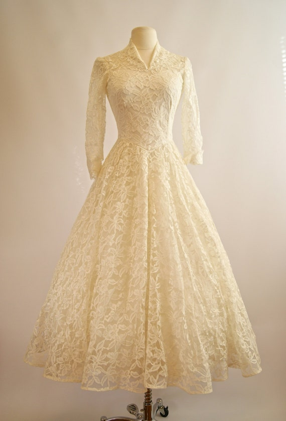 Vintage 1950s cahill wedding dress 50s cahill tea length for 1950 wedding dresses tea length