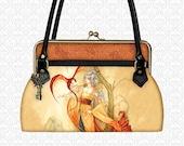 Custom Handbag Large Custom Purse Golden Dragon Lady Purse, shoulder bag leather top handle bag kiss lock closure, designer art bag, xotic