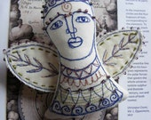 Textile art - handmade embroidered angel