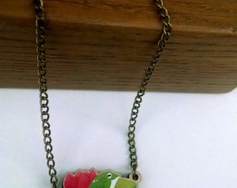 Little Lilypad wood charm necklace