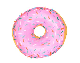 A Classic Pink Glazed with Sprinkles Donut Watercolor Illustration Print