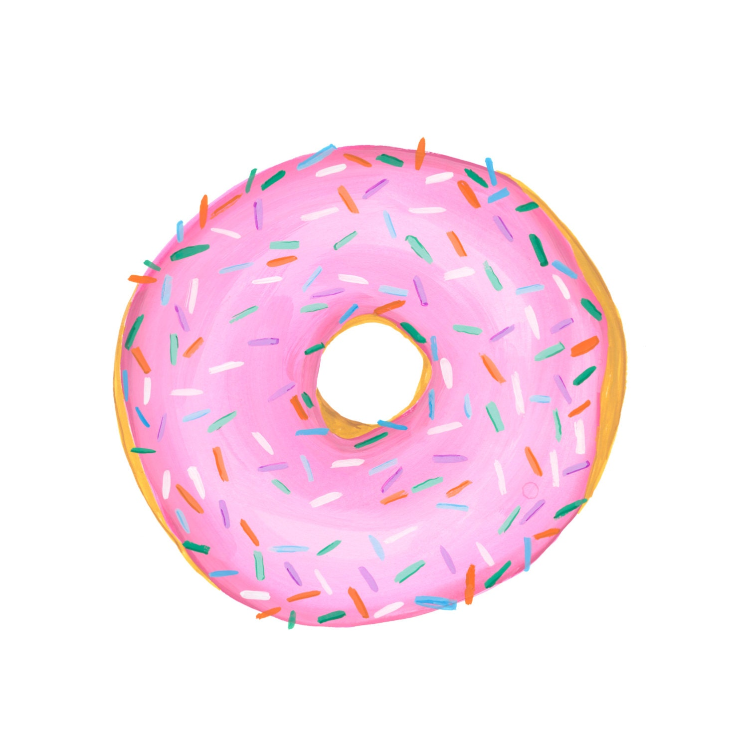 A Classic Pink Glazed With Sprinkles Donut Watercolor