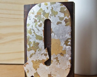 Quirky Q - Gilded and Gorgeous Vintage Letterpress Q Printing Block