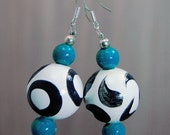 SALE! Large Hand-painted Wooden Bead Earrings - White - Black - Teal - Sterling Silver Hooks  -  Bright - Colourful - Fun - Varnished