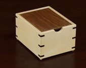 Maple Wood Recipe Box with walnut lid for 3x5 cards