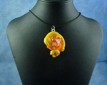 Yellow and Peach Sanity Check Necklace - Tentacle Wrapped D20 Pendant