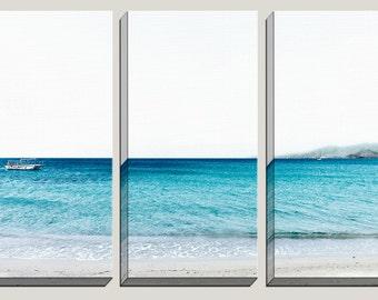 Brilliant Blue Canvas Art, Photography, Agios Prokopios, Naxos, Greece Art, Sea, White Sand Beach, Deep Blue Sea, Minimalistic Art, Decor