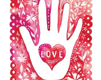 Hand of Love art print   Valentine's Day Wall Art   Pink Watercolor   Katie Daisy