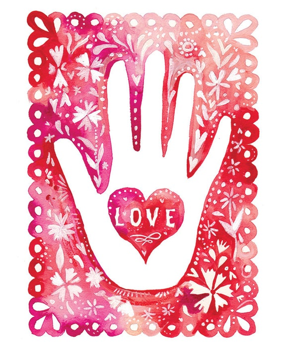 Hand of Love art print | Valentine's Day Wall Art | Pink Watercolor | Katie Daisy