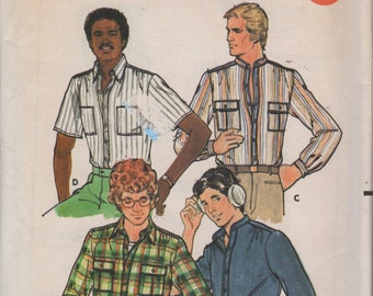 1970s Butterick 6308 Mens  Shirt with Detachable Collar Pattern Adult Vintage Sewing Pattern Chest 40 Neck 15 1/2 UNCUT