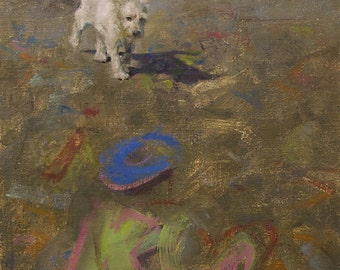 Original Framed Oil Painting by Kathleen Coy. Graffiti Dog.