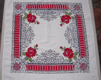 Vintage Startex Towel Red Roses & Wrought Iron