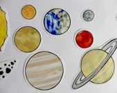 Solar System - Vinyl Stickers OR Fridge Magnets  - Fun/Educational  set -  Made to Order