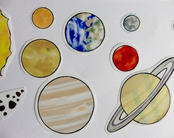 Solar System - Stickers OR Fridge Magnets  - Fun/Educational  set -  Made to Order