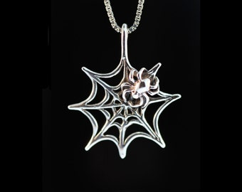Spider Web Necklace Silver - Spider Web Charm Spider Web Pendant - Halloween Necklace - Halloween Jewelry Halloween Charm Spider Web Jewelry