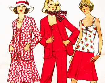 1970s Pattern Womens Sweetheart Neckline Top Pattern, Pants, Flared Skirt, Unlined Jacket Cardigan Vintage Sewing Pattern Misses size 16