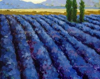 Lavender field 8.5 x 11 paper size lavender PRINT lavender field art blue purple indigo yellow mountains trees art french decor